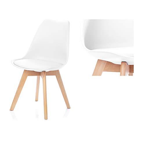 Homede Esszimmerstuhl mit Polster Kunststoff Plastik Holz Weiß Tempa