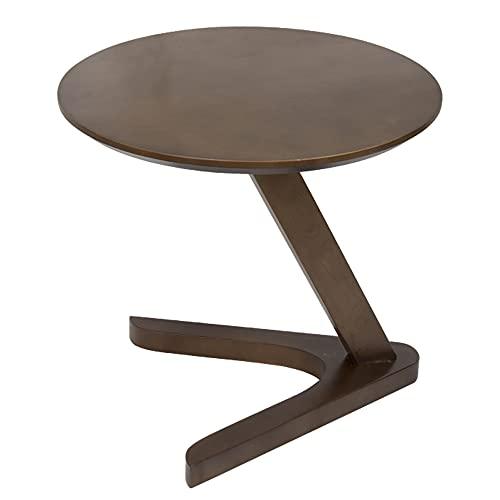 LVSOMT Mesa auxiliar redonda para salón, mesa de madera, mesa pequeña, mesa de café, mesita de noche, mesita de almacenamiento, para salón, cama, sofá, 50 cm (marrón)