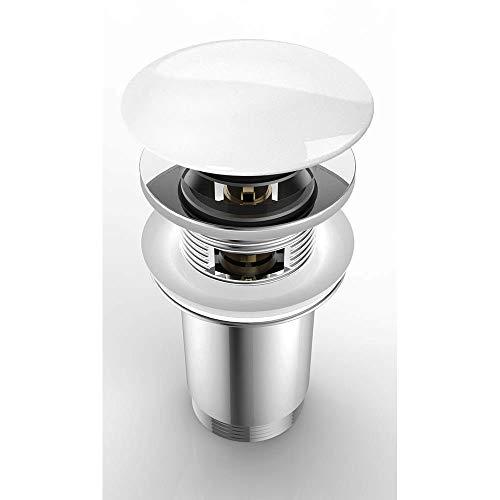 Push Open AK04R | runder Keramikdeckel | mit Überlauf-Funktion verchromt | Standardgröße