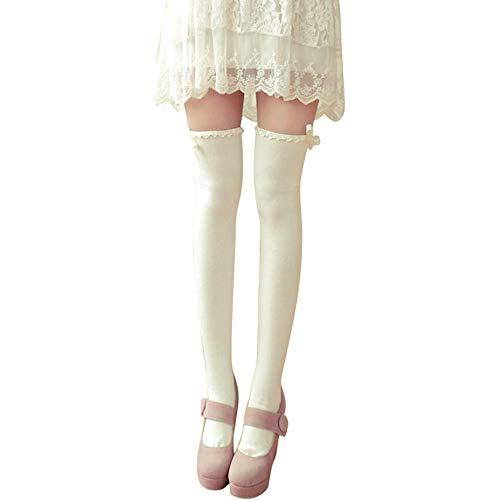 Pervobs Women Wavy Lace Ribbon Bow Stockings Knee High Socks Cotton Bottoming Socks Leggings Pantyhose(White)