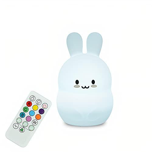 Kidoo - Luz Nocturna Infantil - Luz de Noche Suave LED Multicolor - Lámpara Infantil - Carga USB   Regalo para Niños - Inalámbrica - Luz Quitamiedos - Eficiencia Energética (Rabbit - Conejo)