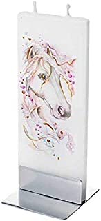 Flatyz Hand Painted Flat Candle| Unscented, Dripless, Smokeless, Decorative | Horse | Double Wick with Metal Base | Unique Gift Idea and Home Décor Accent