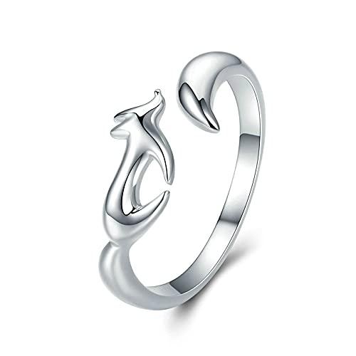 Anillos de plata de ley 925, anillos de dedo ajustables de zorro animal para mujer, anillo de cola de zorro de tamaño abierto, joyería de plata de ley para niñas