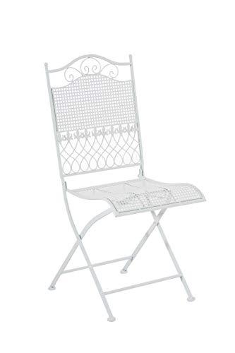 Chaise de Jardin Kiran Pliante en Fer Forgé - Chaise de Terrasse ou Balcon - Hauteur de l'Assise: 45 cm Fauteuil de Jardin Pliable Confortable - Couleur:, Couleurs:Blanc