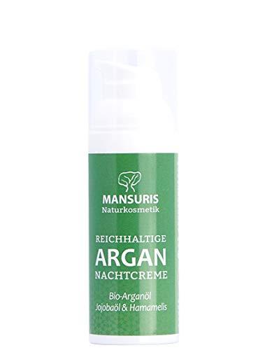 Bio Nachtcreme Natur für Frauen & Männer - Feuchtigkeitscreme mit Arganöl für das Gesicht, Naturkosmetik gegen sehr trockene & unreine Haut, Gesichtscreme für eine Anti-Aging-Pflege 50 ml