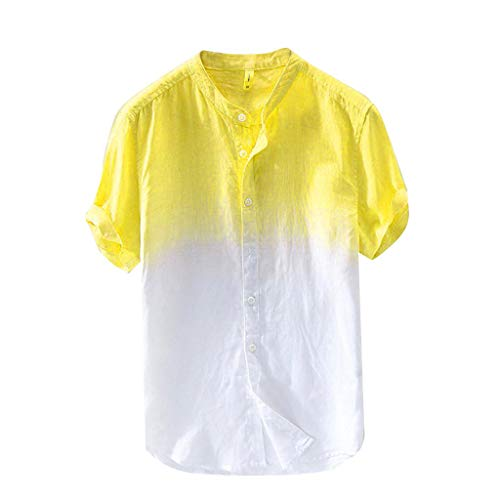 HIRIRI Summer Men's Casual Raglan Tye Die Short Sleeve T-Shirts Slim Fit Button Down Baseball Tee Tops Yellow