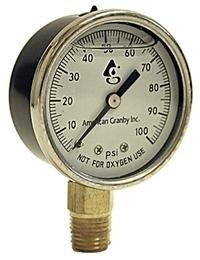 Water Well Pump Liquid Filled Side Lower Mount Pressure Gauge 0 to 100 PSI, 1/4