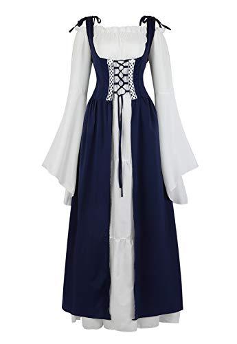 Womens Renaissance Cosplay Costume Medieval Irish Over Dress and Chemise Boho Set Gothic High Waist Gown Dress Deep Blue-2XL