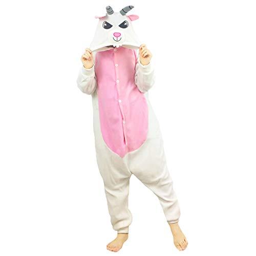 FORLADY Ziege Schlafanzug Erwachsene Tier Cosplay Kostüm Erwachsene Pyjamas Weiß Unisex