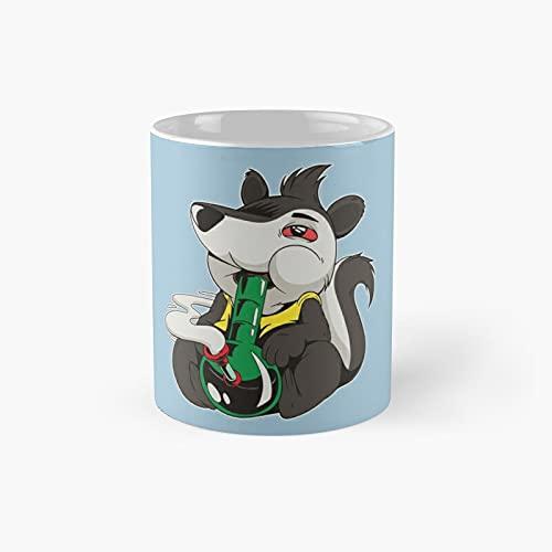 Stoner Skunk Smoking Weed Bong Classic...