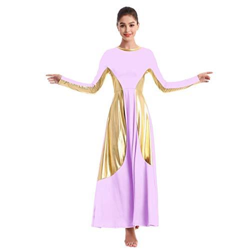 OBEEII Vestido de Danza Ballet para Mujer Litúrgico Alabanza Adoración Danza Adulto Disfraz Elegante Manga Larga Metálico Patchwork Bailarina Fiesta Leotardo Gimnasia Carnaval Traje Morado Claro 2XL
