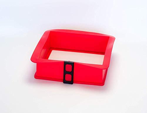 Berger Import Silikon Springform Kastenform Kuchenform Backform Auflaufform mit Glasboden eckig rot 21x21x7cm