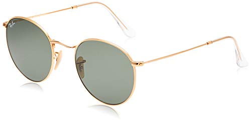 Ray-Ban unisex adult Rb3447n Flat Lens Metal Sunglasses, Gold/Green, 53 mm US