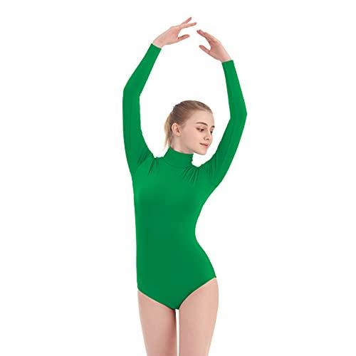 SUPRNOWA Women's Turtleneck Spandex Long Sleeve Leotard (Medium, Green)