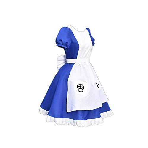 JLCYYSS Spiel Alice: Madness Returns Cosplay Kostüm Halloween Karneval Mittelalterliche Schürze Blau French Court Kleid Anzüge für Frauen Geschenk Hohe Qualität