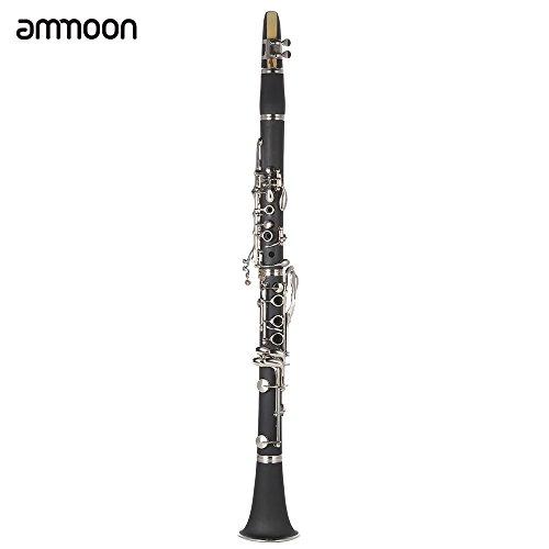 LADE Clarinete ABS 17 Bb Plana Soprano Binocular Clarinete con Cork Grease Trapo de Limpieza Guantes 10 Ca/ñas Destornillador Reed Caja del Instrumento de Viento de Madera