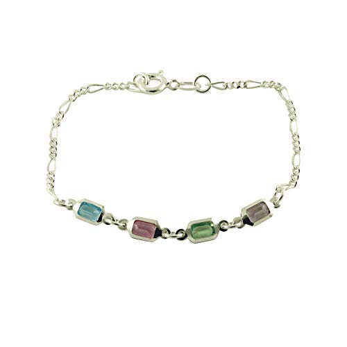 apop nyc 925 Sterling Silver Multicolor Rainbow CZ Station Bracelet 7 inch [Jewelry]