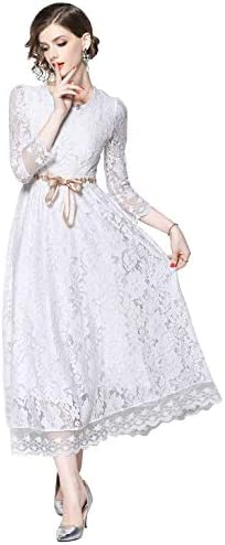 LAI MENG FIVE CATS Womens Elegant 3 4 Sleeves Floral Lace Cocktail Formal Belted Maxi Dress product image