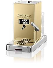 Lucaffè La Piccola Gold Koffiepadmachine E.S.E. Afmetingen 28 x 16 x 31 Koffiepadmachine goud, laag verbruik, hoge kwaliteit, Made in Italy + 300 koffiepads 44 mm Lucaffè