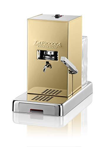 LUCAFFÈ La Piccola Gold Smart, Kaffeemaschine für Kaffeepads Abmessungen 28x16x31 Kaffeemaschine Papierkapseln goldene Farbe geringer Verbrauch hohe Qualität Made in Italy + 300 Pads 35 mm Lucaffè