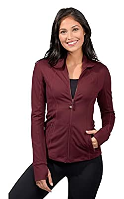 90 Degree By Reflex Women's Lightweight, Full Zip Running Track Jacket - Chocolate Burgandy - Small