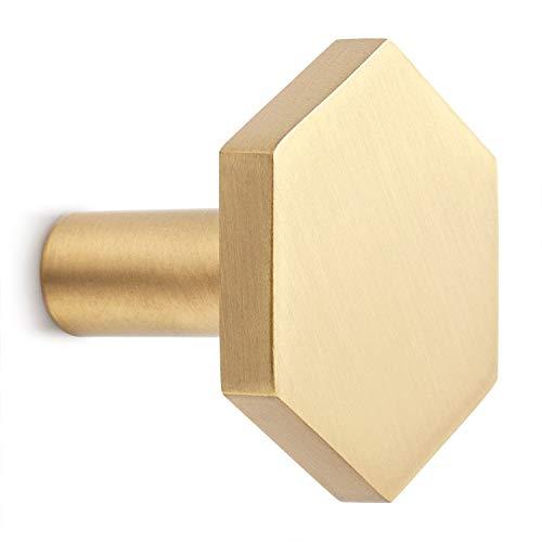 DOKOT 4 Stück Garderobenhaken Gold Messing Wandhaken Schraub Kleiderhaken für Wohnzimmer Schlafzimmer Dekoration Hexagon