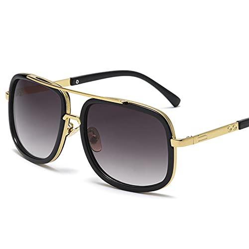 KUNIUO Gafas De Sol Retro con Montura Grande, Gafas De Sol Cuadradas De Metal para Hombre, Gafas De Sol De Moda para Mujer, Gafas De Sol, Gafas De Sol Uv400-Color-4