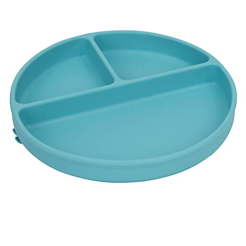 Suction Baby Plate Bowl for Baby and Toddlers - Divided Siicone Plate for Self Feeding,100% Food-Grade Silicone,Microwave, Dishwasher,Baby Feeding Bowls and Dishes for Kids and Infants-Blue