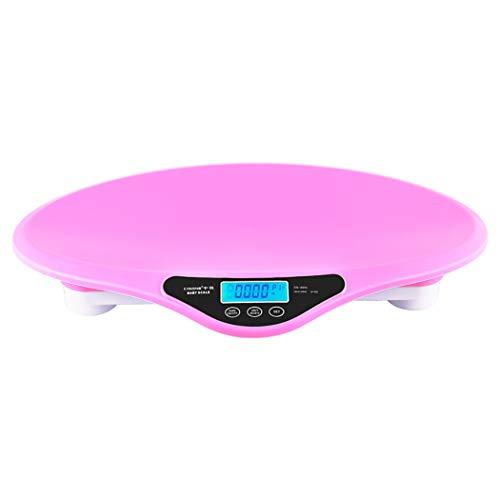DPPAN Digital Báscula Bebe, Báscula Evolutiva Báscula Mascotas Digital, incluida la Cinta métrica, Capacidad máxima 20 kg / 44 LB,Pink