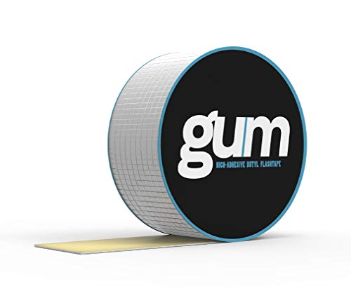 Gum Super Waterproof Butyl Rubber Aluminium Foil Tape - Repair Tape for Roof, Gutter - in or Outdoor Use Waterproof Tape for Plastic and Metal Repairs - 5m Length (50mm(W) x 5M(L))