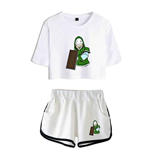GIRLAA Dreamwastaken Sexy De Manga Corta para Mujer Camiseta De Golf Tenis Camiseta Pantalones Cortos Traje Femenino S