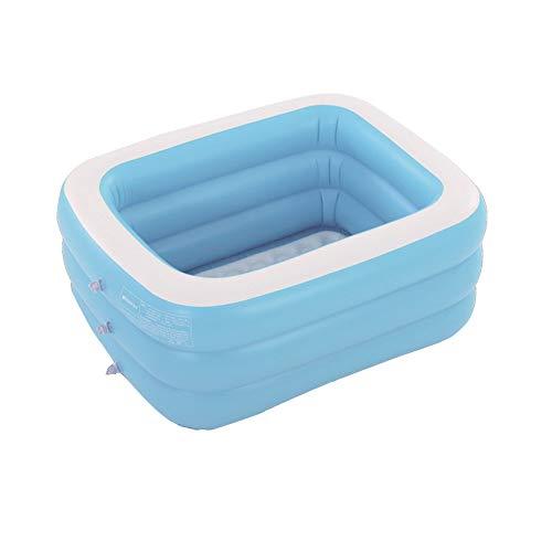 Infantil Rectangular Azul Piscina Gruesa Y Duradera para Bebés Adultos Piscina Inflable Piscina Gruesa Resistente al Desgaste domésticos, Piscina para Sala de Estar Familiar 130*90*48CM