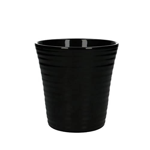 Übertopf 12 cm Ø - Orchideentopf - Keramik - Schwarz - mit Rillen T1