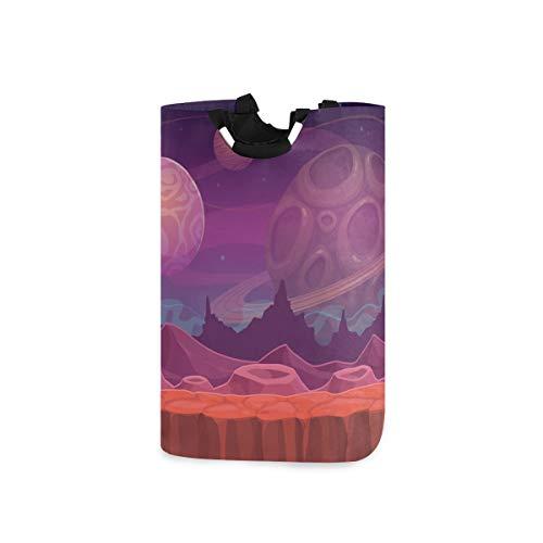 ZOMOY Multifunktionale Faltbarer Schmutzige Kleidung Wäschekorb,Alien Fantastic Landscape Seamless Space Hintergrund,Household Wäschebox Spielzeug Organizer Aufbewahrungsbeutel mit Henkel