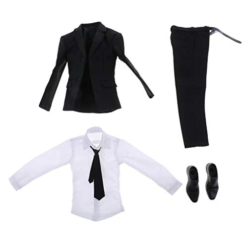 ZSMD 1/6 Scale Action Figure Doll Outfits, Slim Fit Suit + Shirt + Tie + Shoes voor hot Toys, Sideshow 12 inch Male Body Model