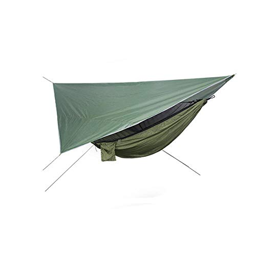 HUANXI LightweightDoubleCamping Tarpaulin with Awning + Storage Bag + Strap,300kg Load Capacity (270x140cm) Army Green Tent Hammock for Trees, Ideal Hammock Swing