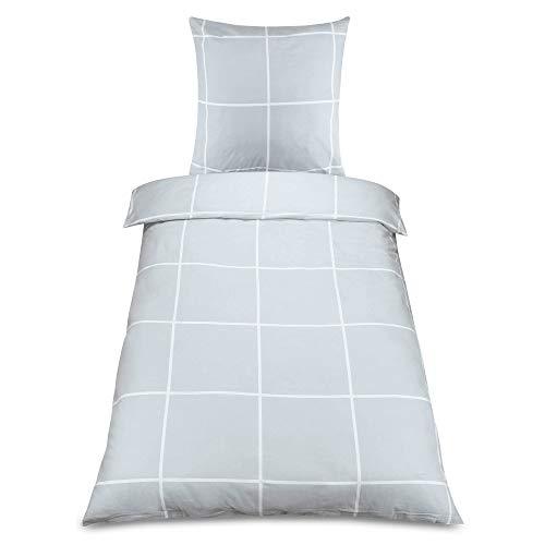 Beautissu 2tlg Biber Bettwäsche Ruby Bettbezug 135x200 cm Muster Winterbettwäsche Warm Kopfkissenbezug Bettdeckenbezug in Grau