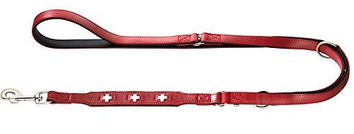 HUNTER Swiss Verstellbare Führleine für Hunde, Leder, hochwertig, schweizer Kreuz, 1,8/200 cm, rot