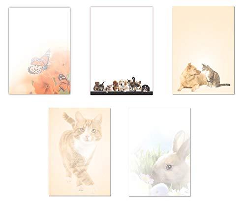 5 x 5 Blatt Motivpapier Briefpapier Mix DIN A4 Schmetterlinge Hund Katze Maus Hase (Tiere-5241)