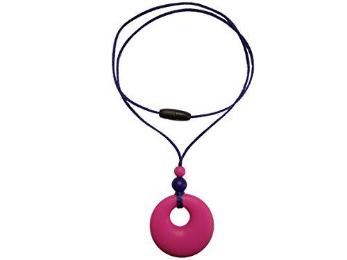 Collar de Dentición de Silicona con Colgante Mordedor para la Lactancia de Su Bebé Cuentas sin BPA, Hecho a Mano por MilkMama, 5 Colores (Rosa)