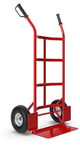 Stagecaptain Carryboy Sackkarre - Transportkarre für Umzug oder Getränkekisten - Stabiler Metallrahmen - Luftreifen mit 27cm Durchmesser - Handkarren bis 200 kg belastbar - Rot