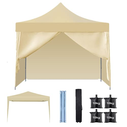Tonnelle pliable 3 x 3 m étanche avec parois latérales amovibles, tente pop-up, tente de fête, tente pour festivals, mariage, camping en plein air, sac de transport avec roues, sacs de sable à 4 pieds