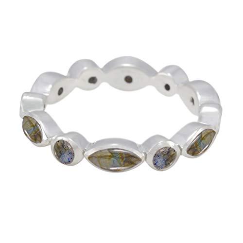 Joyas Plata natürlichen Edelstein Multi Form Multi Stein Cabochon Labradorit Ring - massiv Silber Gary Labradorit Ring - Januar Geburt Steinbock Astrologie natürlichen Edelstein Ring