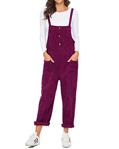 Unifizz Women's Loose Baggy Corduroy Bib Overall Casual Jumpsuit Rompers Harem Pants with Pockets (02_Corduroy_Purple L)