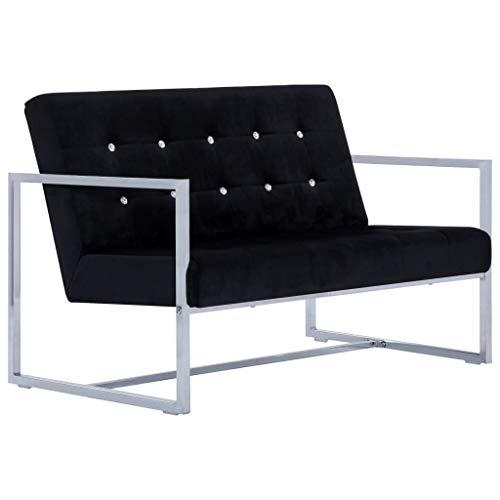 yorten Sofá de 2 Plazas Acolchado con Reposabrazos Cromados y Terciopelo Diseño Moderno 114 x 78 x 81 cm Negro