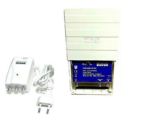 Amplificador de mastil TDT + alimentador Rover 50 dB con Filtro LTE Rechazo 5G