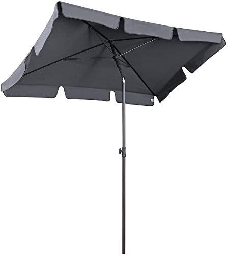 AMMSUN 7ft × 4.6ft Rectangular Patio Umbrella Outdoor Market Table Umbrella Steel Pole and Ribs Push Button Tilt - Gray