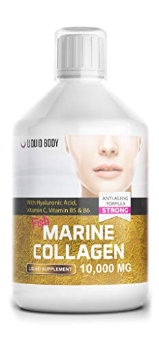 Liquid Body Marine Collagen Peptides, Hydrolysed protein, 10,000Mg Serving, Hyaluronic Acid, Skin, Hair, Nails, Joints, Berry Flavour, Higher Absorption than Powder, Pills & Capsules, 1 X 500Ml Bottle