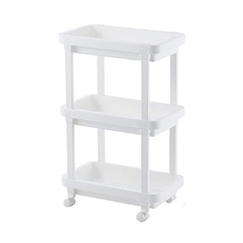 WUDAXIAN Badezimmer-Regal-Flaschenzug, den es bewegen kann, Rollen-Landungs-Kleiner Trolley-Lagerregal-Kabinett-3. Stock-Griff für Badezimmer-Küche