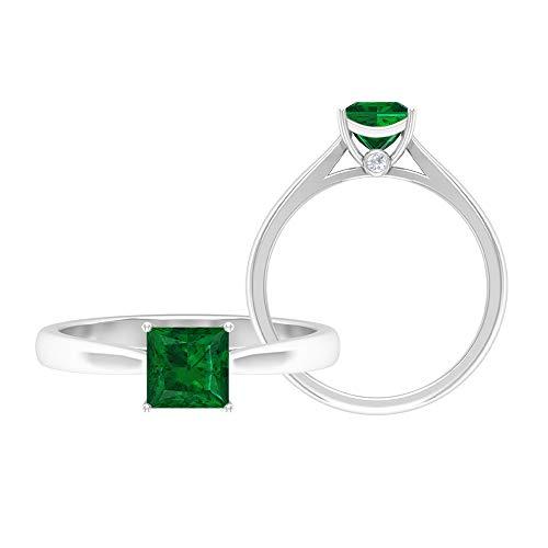 Anillo de corte princesa de 5,5 mm, anillo de moissanita D-VSSI, anillo de compromiso de oro, oro blanco de 14 quilates. verde